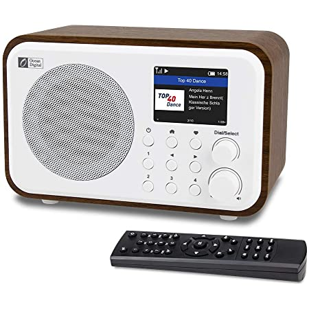 """Ocean Digital WiFi Internet Radios WR-336N Portable Digital Radio with Rechargeable Battery Bluetooth Receiver with 2.4"""" Color Display, 4 Preset Buttons, Support UPnP & DLNA-White"""
