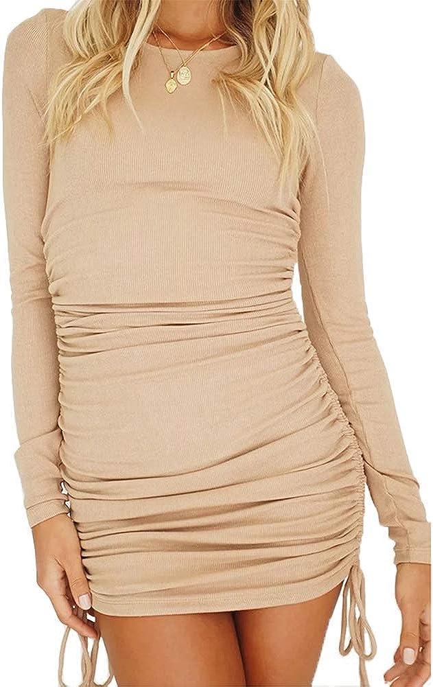 HERMOCO Women's Long Sleeve Austin Mall Bodycon R Club Sexy Dress Drawstring Challenge the lowest price of Japan ☆