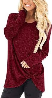 Sudadera Tumblr Mujer Manga Larga Casual Color sólido Jerséis Otoño Invierno Cuello Redondo Jersey Mujer Primavera Blusa T...