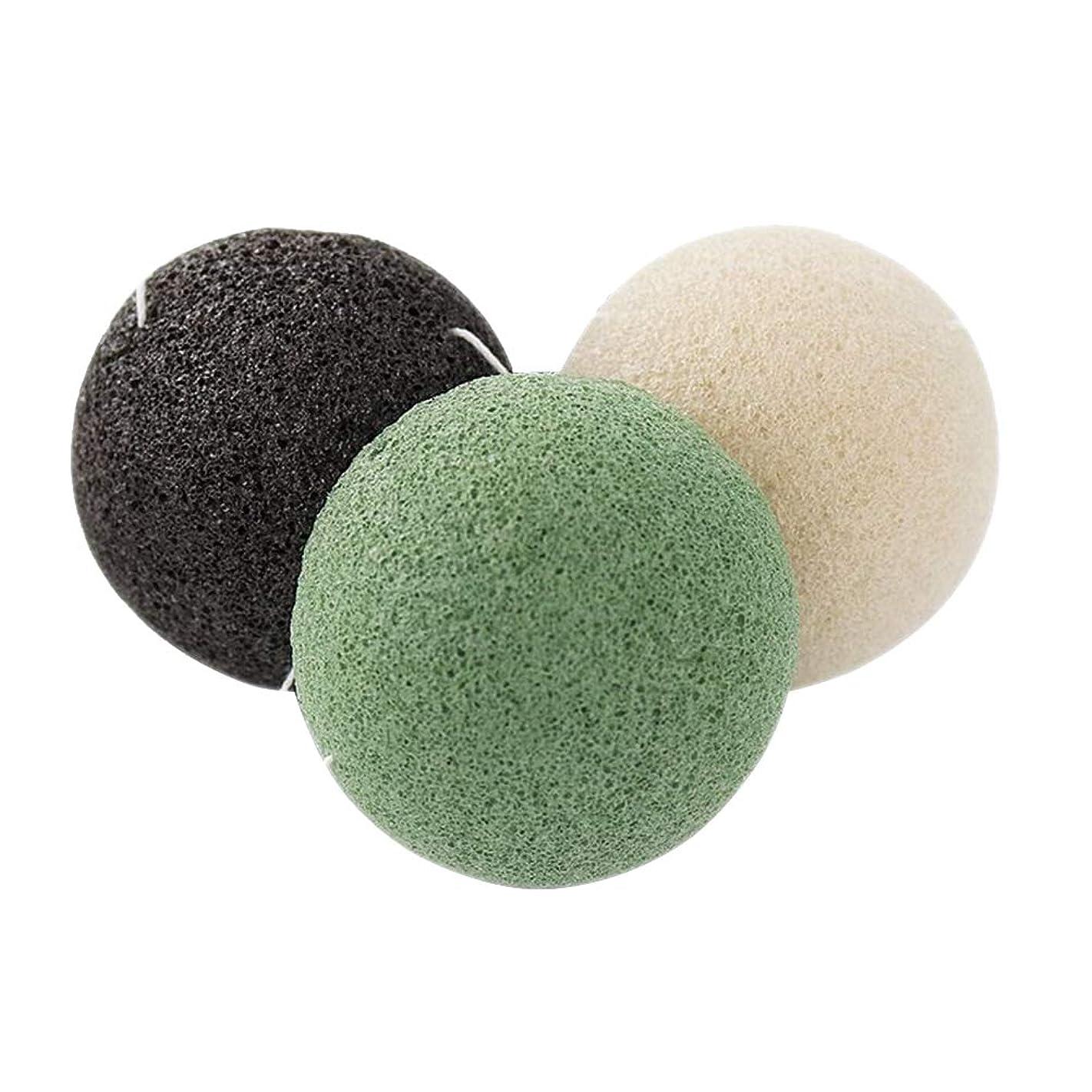 OUNONA 3個 こんにゃくスポンジ 蒟蒻洗顔マッサージパフ クリーニング 天然こんにゃくパフ(緑)