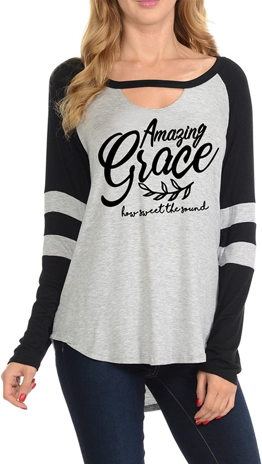 Amazing Grace Womens Long Sleeves Key Hole Printed TShirt Top(NT7814438)