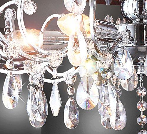 Strass Kristall Kronleuchter Deckenlampe Deckenleuchte Lüster Wohnzimmer Beleuchtung Kristallleuchte Wohnzimmerlampe klassisch XL 60cm 6xE14 Fassungen - 5