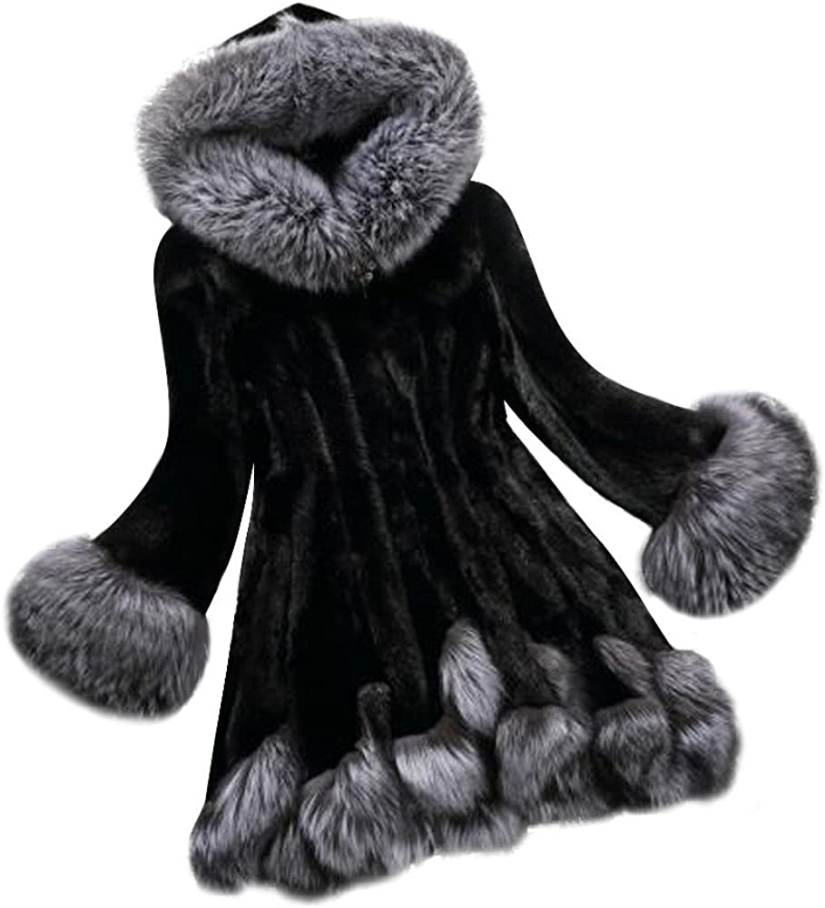 Cuekondy Women Faux Fur Max 63% OFF Coat Thick Ranking TOP4 Winter Fuzzy Fleece Warm