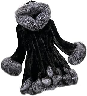 iYBUIA Winter Women Solid Long Sleeve Parka Outwear Faux Fur Coat