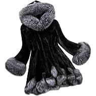 VESNIBA Womens Coats Long Sleeve Parka Outwear Fox Fur Jacket