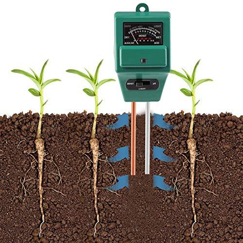ZHONGGEMEI PH Meter, 3 in 1 Tester per misuratore di umidità/Luce/PH dell\'acidità delle Piante, igrometro per Il monitoraggio dell\'Acqua del Suolo per la Cura del Giardino