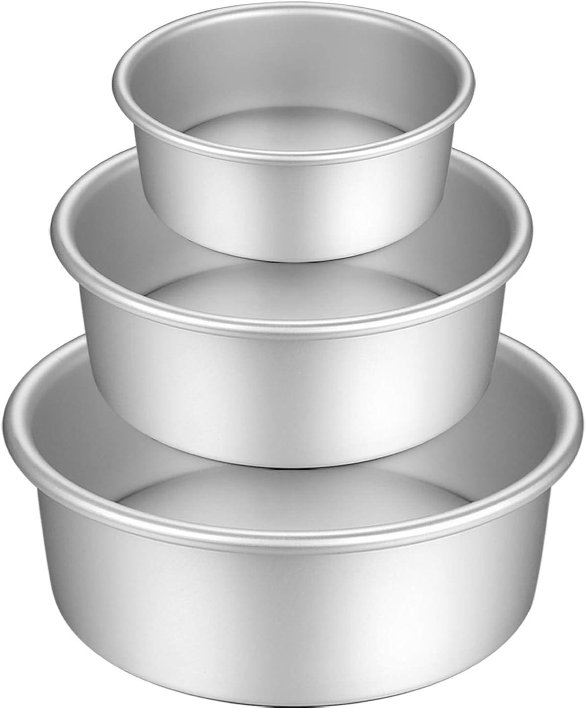 Gesentur Moldes para Pasteles, Antiadherentes Redondo Aluminio Anodizado Molde de Horno Tartas con Base Desmontable, 3 Piezas (5