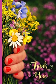 Thank You: Blank Lined Notebook - Floral Thank You Journal For Writing and Jotting Down Ideas