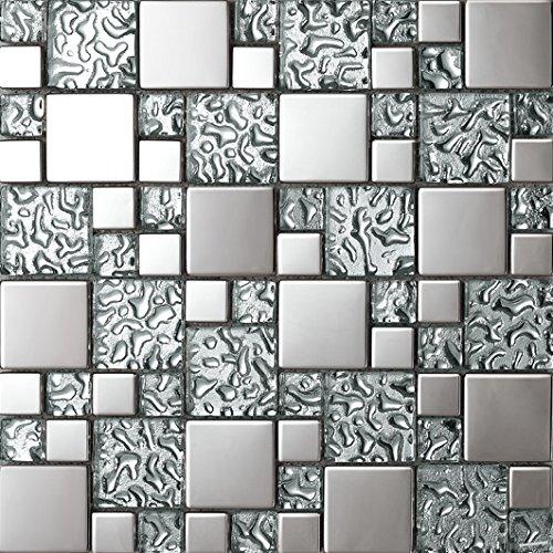 NEW !Tailles mixtes mosaico quadrato Vetro e acciaio inox mosaico mattonelle arte della parete 300*300mm--Cucina Backsplash/Parete da bagno/decorazione domestica(SA073-9/10/27/36)