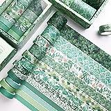 Cintas Washi Tape 12 Rolls Washi Tapes Bullet Journal Cinta Adhesiva Decorativa 3m Cada Rollo con 1 Caja para Bricolaje Decorativo Diario Envoltura Calendarios (Ancho 10mm, 15mm, 20mm, 30mm, Verde)