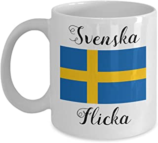 Swedish Coffee Mug - Novelty Swedish Flag Tea Cup For Swedes - Best Birthday & Christmas Gift For Women & Girls With Scandinavian Heritage Pride - Proud Nordic Viking Lover Accessories