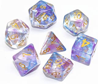 HD Polyhedral Dice Sets DND Game Dice for Dungeons and Dragons(D&D) Role Playing Game(RPG) MTG Pathfinder Table Game Dice Flowing Series Double Color Transparent Dice (Purple-Blue)