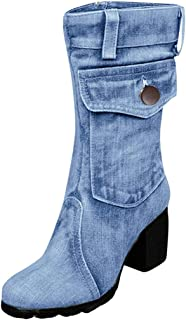 Women's Mid Calf Leather Boots High Heel Military Buckle Motorcycle Cowboy Ankle Booties