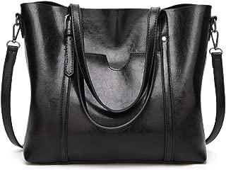 Medium Laptop Work Tote Bag for Women - Leather Zip Tote Handbag with Removable Shoulder Strap