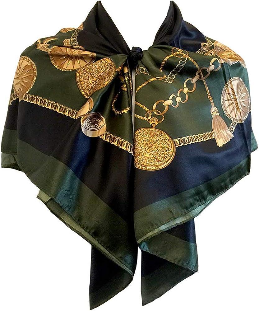 "StarGo Silk Feeling Scarf Women's Fashion Large Square Satin Headscarf Hair Wrapping Scarf Neckerchief 35x35"" (Gold Coin on Basil)"