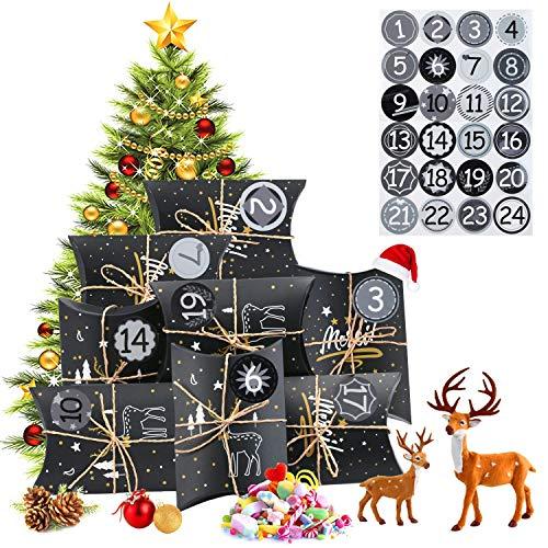 EKKONG calendario dell'Avvento da riempire, 24 sacchetti con 24 numeri adesivi per Natale, per il fai da te e la decorazione fai da te, sacchetto regalo di Natale, classico stile natalizio