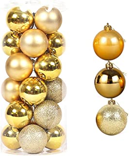 LUCKY CUP Christmas Balls Ornaments for Xmas Tree Ornaments Shatterproof Christmas Hanging Tree 24pcs 2.36
