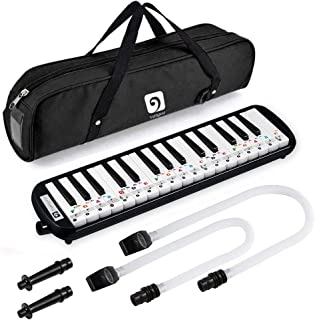 Vangoa Black 32 Key Portable Melodica With Melodica Stickers, 2 Mouthpieces, Carrying Bag for Music Lovers Beginners