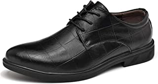 HongJie Hou Oxford Shoes for Men Formal Shoes Lace Up Style OX Leather Fashion Grid Texture Pure Colors Outsole (Color : Black, Size : 9.5 UK)