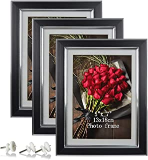 Artsay 5x7 Picture Frame Photo Frames Set for Wall, Black, 3 Pack