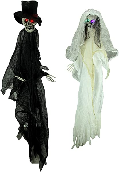 Bauer Pacific Creepy Halloween Bride And Groom Skeletons With Light Up LED Eyes