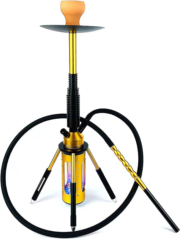 HKYMBM Forma De Narguile con Todo El Diseño De La Forma De Cohete Premium Kit De Shisha Mordern Diseño con Luz LED Colorida, Accesorios Portátiles De Cachimba,Oro