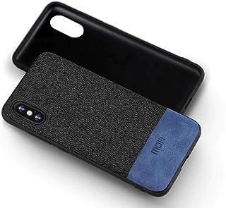 MOFI iphone XS Max Case, Blue Leather Black Fabric, Flexible Frame