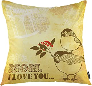 oFloral Cherry Flower Throw Pillow Covers Cushion Cover Birdie Love Mom Bird Happy Mothers Day Flowers Branches Decorative Square Pillow Case 18