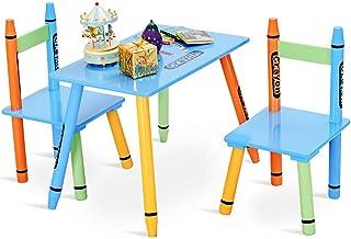 COSTWAY Juego de 1 Mesa con 2 Sillas para Niños Madera Muebles para Niños Set de 3 pcs con Tabla y Asientos Escritorio