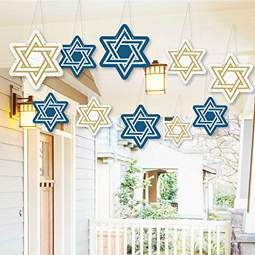 Big Dot of Happiness Hanging Happy Hanukkah - Outdoor Hanging Decor - Chanukah Party Decorations - 10 Pieces