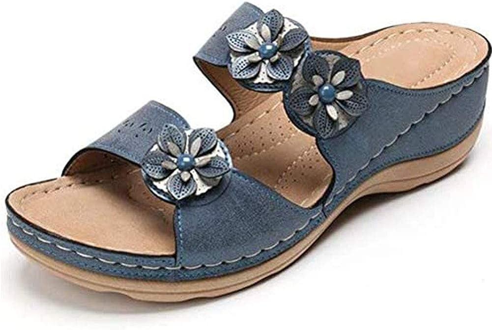 Vimisaoi Slide Sandals for Women, Open Toe Slip On Flower Mules Wedge Sandals Slippers