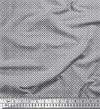 Soimoi Grau Georgette Viskose Stoff geometrisch klein Stoff