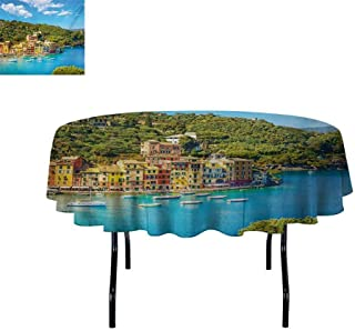Italy Oil-Resistant and Durable Round Table Cover Portofino Landmark Aerial Panoramic View Village and Yacht Little Bay Harbor Kitchen Available D67 InchBlue Green Yellow