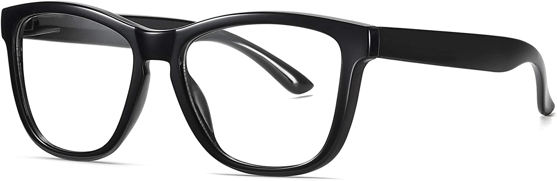 SKILEC Gafas Anti Luz Azul Gafas Ordenador Gafas Lectura Hombre Mujer Antifatiga Filtro Protección Azul UV Gafas Presbicia Hombre PC, Gaming, Tablet, TV, Videojuegos Lentes Transparentes (Negro)