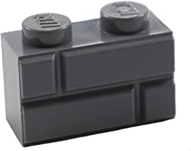 New Lego Modified 1 x 2 Dark Bluish Gray Brick with Masonry Profile (x50)
