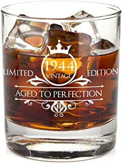 1944 75th Birthday Whiskey Glass for Men and Women - Vintage Aged To Perfection - Anniversary Gift Idea for Him, Her, Husband or Wife - Presents for Mom, Dad - 11 oz Bourbon Scotch Tumbler