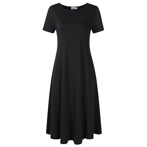 2fb4e3e35fd MISSKY Women s Basic Casual Loose Midi Dress (UK 8-28 Size)