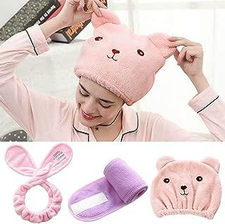 Fashband Coral Fleece Headbands Rabbit Ear Soft Towel Hair Band Spa Facial Headband Cute Animal Hair Drying Hat Makeup Shower Headbands and Cap for Women and Girls (Pink)