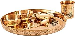 IndianArtVilla Bronze Kansa Utensil  6 Piece Embossed Designer Dinner Thali Set 1 Dinner Plate 2 Bowl 1 Rice Plate 1 Glass & 1 Spoon Home Hotel Restaurant