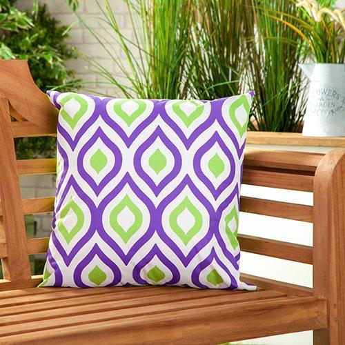 Gardenista Cojín Relleno Resistente al Agua y para Exteriores | Diseño con Patrones Coloridos | Accesorio para Muebles de Jardín| Almohadas Decorativas de | 45 x 45 cm (6 Piezas, Purple/Lime)
