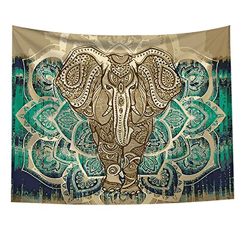 Bohemian Elephant Tapestry - Mandala Boho Vintage Watercolor Yoga Wall Hanging Indian Art Home Decoration Bedroom Decor Living Room Door Curtain Balcony Sheer Room Divider 59.1' × 51.2'