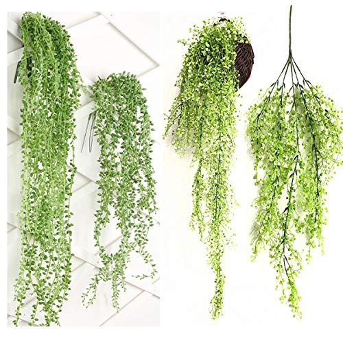 tangger 4PCS Artificiali Piante Grasse da Parete Forma di Fili di Perle,Salice Artificiale Casa Appeso Piante Decorativa
