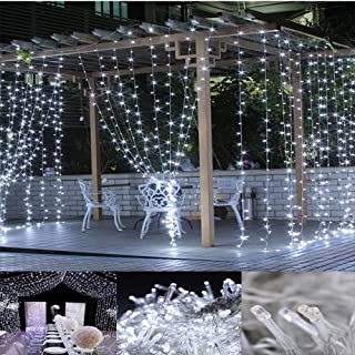 Neretva 300 LED Window Curtain String Light, Twinkle String Fairy Lights, 9.8x9.8ft, 8 Modes Linkable,LED String Lights for Christmas Party Wedding Patio Lawn Garden Decorative Lights (White)