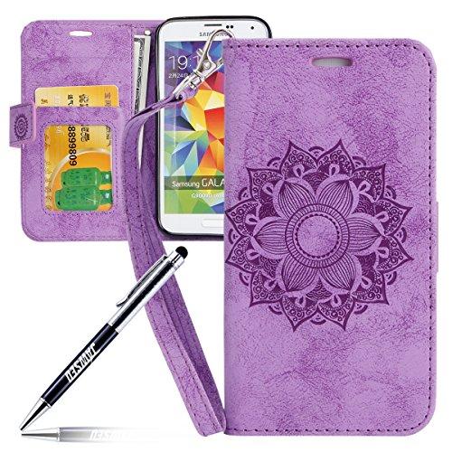 Kompatibel mit Galaxy S5 Hülle,Galaxy S5 Neo Tasche Lederhülle Galaxy S5 / S5 Neo Handyhülle Wallet Hülle Flip Hülle Brieftasche,Mandala Blumen Muster PU Leder Tasche Handy Schutzhülle Etui Lila