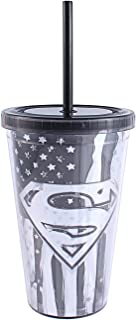 DC Comics Plastic Silver Buffalo SP90087Z Superman Logo and Flag Black and White Cold Cup with Lid and Straw, 16-Ounce