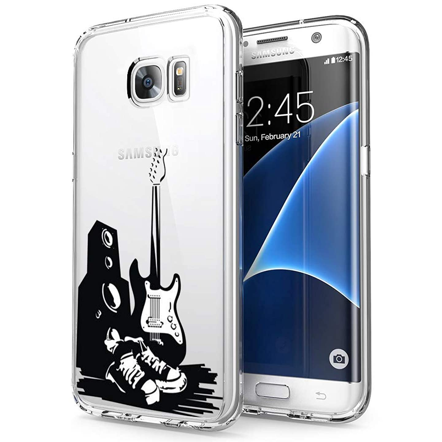 ChyFS Phone Case for Samsung Galaxy S7 Edge Guitar and Speakers Clear Case Crystal Protective Case for Samsung Galaxy S7 Edge.