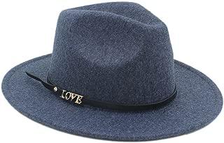 CHENDX High Quality Hat, Winter Auturmn Women's Men's Wool Wide Brim Fedora Hat with Love Letter (Color : 5, Size : 57-58CM)
