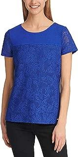 Calvin Klein Women's Short Sleeve Mesh Overlay Double Layer Tee