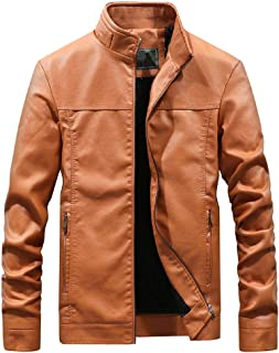 wuliLINL Mens Leather Jacket Slim Fit Stand Collar Motorcycle Jacket Lightweight