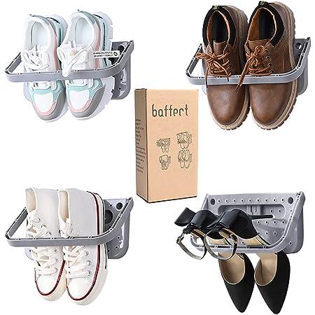 Baffect Support de Chaussure Mural Pliable 4 Pieces, Range-Chaussures Rabattable Etagere Suspendue pour etagère de Rangement pour Chaussures, 4 pcs Gris